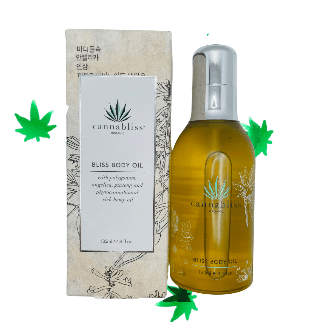 Skincare: Cannabliss Bliss Body Oil - $60 | Ingredients: Prunus Ducis (Almond) Oil, Proprietary Boham™ Herbal Extract: [Panax Ginseng, Angelica Sinensis Root, Astragulus Membranaceous Root, Lycium Barbarum (Goji) Fruit, Polygonum Multiflorum Root, Glycyrrhiza Glabra (Licorice) Root] Vits Vinifera (Grape) Seed Oil, Oryza Sativa (Rice Bran Oil, Prunus Armeniaca (Apricot) Kernel Oil, Full Spectrum Hemp Oil (87%), Simmondsia Chinensis (Jojoba) Seed Oil, Organic Olivea Europa (Olive) Fruit Oil, Tocopherol